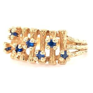 Vintage 14K Gold Blue Kyanite Bamboo Ring